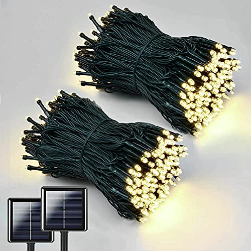 QINOL 2-Pack 400LED 72FT Solar String Lights Outdoor, Green Wire Solar Christmas Lights, Waterproof 8 Modes Twinkle Lights for Xmas Tree Garden Decorations (Warm White)