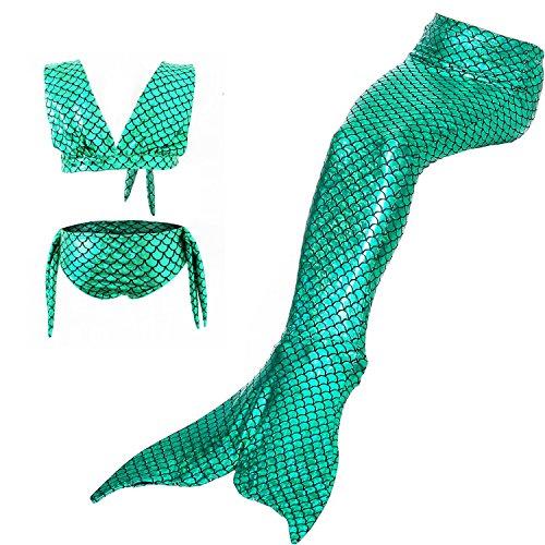 Jellybro 3PCS Girls' Swimsuit Mermaid Tail for Swimming Children Costume Swimwear Bikini Set 3-12 Y  - http://coolthings.us