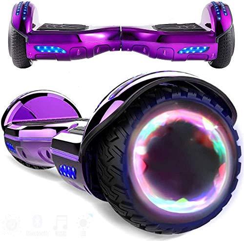 Magic Vida Patinete Eléctrico Overboard 6.5 Pulgadas,Motor de 700W,Altavoz de música Bluetooth,Auto-Equilibrio,Luz LED,Scooter Electrico para Niños y Adultos(Cromo púrpura)