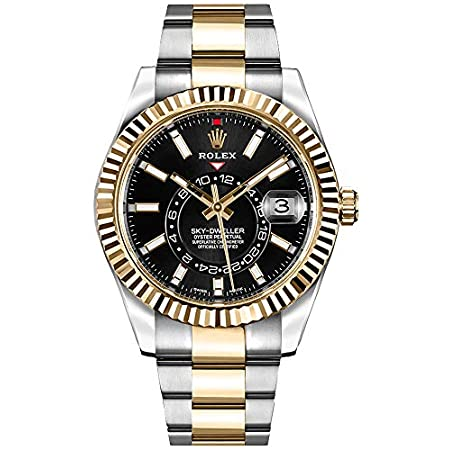 Fashion Shopping Luxury Rolex Sky-Dweller Black Dial Gold & Steel Mens Watch – Reference: 326933