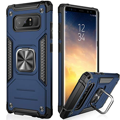 IKAZZ Galaxy Note 8 Case,Samsung Note 8 Cover Dual Layer Soft Flexible TPU and Hard PC Anti-Slip Full-Body Rugged Protective Phone Case with Magnetic Kickstand for Samsung Galaxy Note 8 Blue