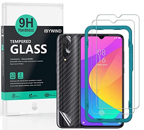 Ibywind ProtectordePantalla para Xiaomi Mi 9 Lite [2 Piezas],con Cristal templado para lente de cámara trasera,Atrás Pegatina Protectora Fibra de Carbono,Incluyendo Kit de instalación fácil