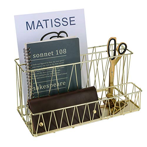 Simmer Stone Magazine Holder, 2 Slot File Sorter with Mail Organizer, Wire Desk Organizer Basket for Letter, Document, Folder and Accessories, Gold