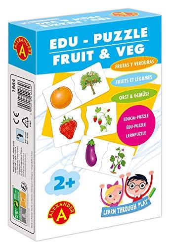 A Alexander 2006 Obst und Gemüse, 24 Kinderpuzzle aus 48 Puzzleteilen aus Karton, Puzzlebox mit Früchten & Pflanzen, Motorik Puzzles Legespiel, Legepuzzle für kleine Kinder ab 2 Jahre