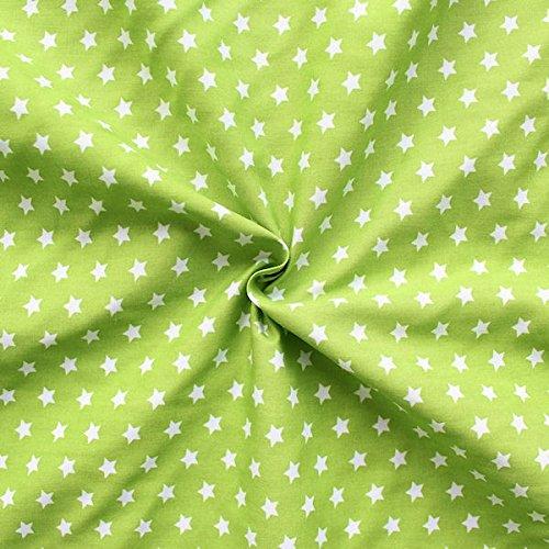 STOFFKONTOR 100% Baumwollstoff Sterne Mittel - Meterware, Lind-Grün - zum Nähen von Blusen, Kinderkleidern, Homeaccessoires, UVM.