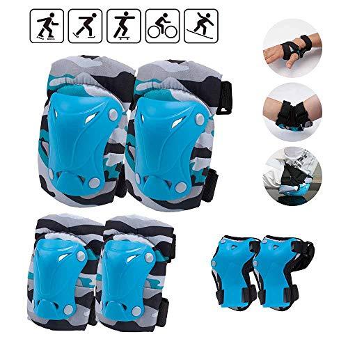 Senston Protektoren Set für 3-12 Jahre, 6 in 1 Profi Kinder Schutzausrüstung für Schutzausrüstung Inliner,Skaten, Radfahren, Skateboard