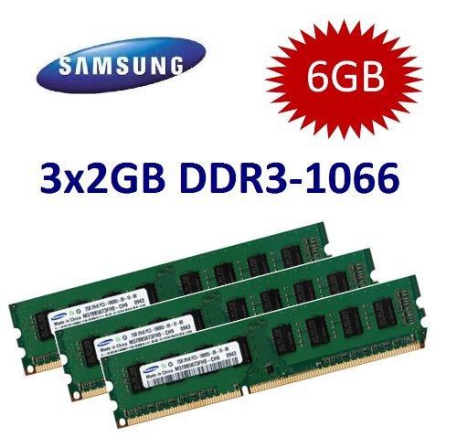 SAMSUNG Original (Mihatsch Diewald) 6GB Triple Channel Kit 3 x 2 GB 240 pin DDR3-1066 (1066Mhz, PC3-8500, CL7) double sided 3x M378B5673FH0-CF8 für DDR3 Mainboards mit Triple Channel