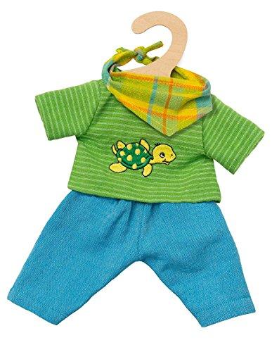 Heless 2721 - Fair Trade Bekleidungs-Set für Puppen, Outfit Max, 3 teilig mit Hose, Shirt und pfiffigem Halstuch, Größe 35 - 45 cm