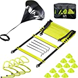 EAZY2HD Speed Agility Training Set- Agility Ladder,12 Cones, 4 Adjustable Hurdles,Parachute,...