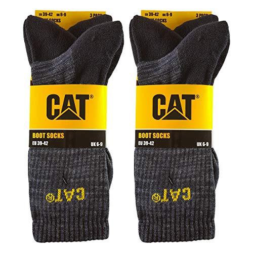 Caterpillar Boot Socks 6 Paar Stretch-Baumwollsocken, verstärkte Zehen und Fersen, geeignet für Stiefel (Schwarz, 43-46)
