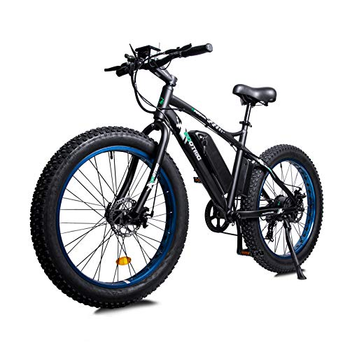 """ECOTRIC Powerful Electric Bicycle 26"""" X 4"""" Fat Tire Bike 500W 36V 12AH Battery EBike Moped Beach Mountain Snow Ebike Throttle & Pedal Assist - 90% Pre-Assembled (Blue)"""