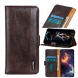 ROVLAK Funda para LG K61 Flip Case Magnética Cuero Cartera Funda Antigolpes con Tarjeta Ranuras Wallet Cover Protectora Estuche para LG K61 Smartphone,Marrón