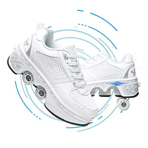 Fbestxie Rollschuh Roller Skates Lauflernschuhe,Sneakers,2In1 Mehrzweckschuhe Schuhe Mit Rollen Skateboardschuhe,Inline-Skate,Verstellbare Quad-Rollschuh Stiefel Skateboardschuhe,Weiß,38