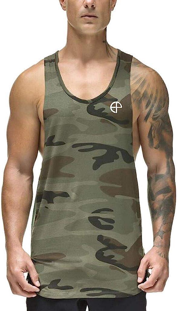 Gergeos Men's Muscle Fit Gym Bodybuilding Workout Tank Top Summer Sleeveless Shirt Vest