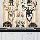 JOCHUAN Hipster Set Deer Face Etiquetas Inscripciones Cocina Cortinas Cortinas para Ventanas Cafetería Baño Lavandería Sala de Estar Dormitorio 26 * 39 Pulgadas 2 Piezas