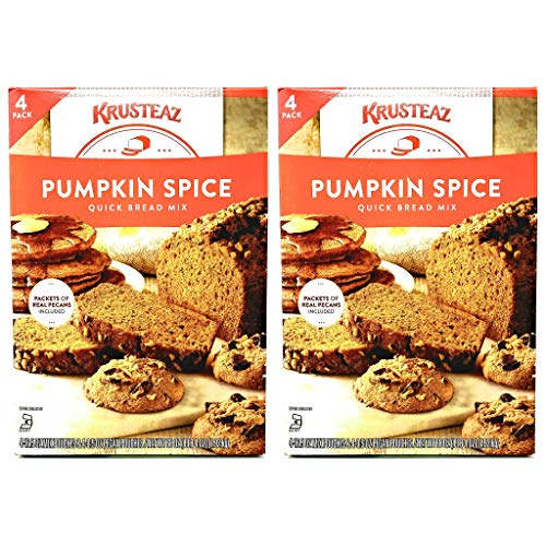 Krusteaz Pumpkin Spice Quick Bread Mix - Pack of 2 Boxes - 136 oz Total - 68 oz Per Box -Includes Packets of Real Pecans - Can be Used as Pancake and Waffle Mix