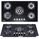 Cooktops Gas Cooktop 34' inches Tempered Glass Built in Gas Stove 5 Burners Gas Stoves Cooktop Stove Burner Cast Iron Grate Stove-Top LPG/NG Dual Fuel Thermocouple Protection and Easy to Cle