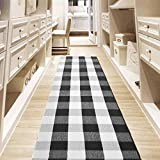 USTIDE Black&White Buffalo Checkered Plaid Kitchen Rug Hand Woven Braided Accent Area Rug Runners...