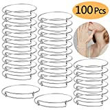 UPINS 100Pcs Expandable Blank Bangle Bracelets Adjustable Wire Bracelets for DIY Jewelry Making, Silver