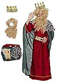Gojoy shop- Disfraz y Corona de Rey Mago Melchor para Niños Navidad Carnaval (Contiene Corona, Conjunto Peluca y Barba, Túnica, Capa y Cinturón, 4 Tallas Diferentes) (Melchor, 10-12 años)