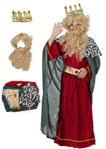 Gojoy shop- Disfraz y Corona de Rey Mago Melchor para Niños Navidad Carnaval (Contiene Corona, Conjunto Peluca y Barba, Túnica, Capa y Cinturón, 4 Tallas Diferentes) (Melchor, 7-9 años)
