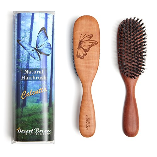 Made in Germany, 100% Pure Calcutta Wild Boar Bristle Hair Brush, Model CLC, Extra Stiff 1st Cut Natural Bristles, Pear Wood Handle, by Desert Breeze Distributing