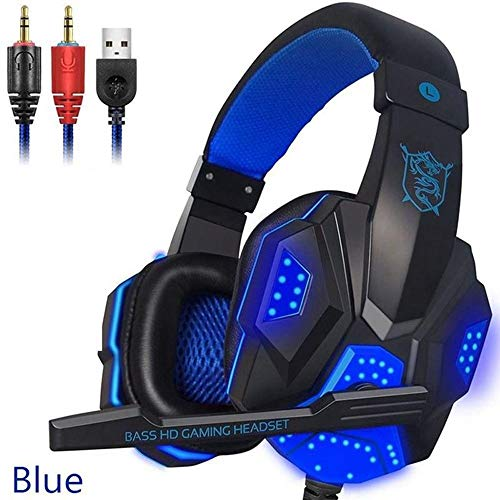 PC780 Gaming Headset Headphones Stereo Stereo Headphones for Wired Gamers with Microphone LED Light for PC PC Gamers,Blue