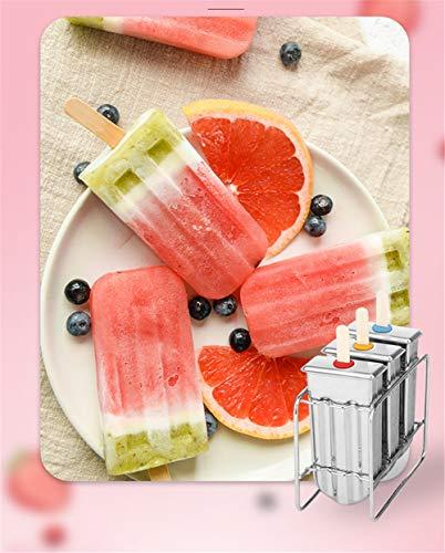 RoseFlower Wiederverwendbare Edelstahl Ice Cream Mould Eisformen Eisförmchen Popsicle Formen Set, Eisform Silikon, Stieleisformer, Mini Eisform für Kinder, Baby, Erwachsene