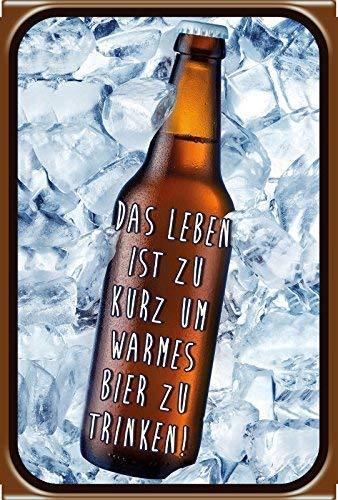 Leben zu Kurz Für Warmes Bier Beer metalen bord, gebogen, tin metaal, 20 x 30 cm