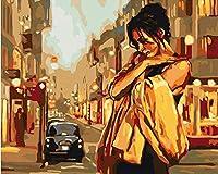 番号によるDiyデジタル絵画ペイントアクリルペイント手作りペイント女性街角番号による色家の装飾