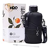 H2O Capsule 2.2L Half Gallon Water Bottle with Storage Sleeve and Removable Straw – BPA Free Large Reusable Drink Container with Handle - Big Sports Jug, 2.2 Liter (74 Ounce), Jet Black