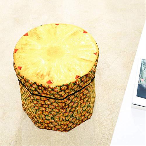 LBHHH Sgabello Pieghevole per Bambini, Sgabello Frutta Simulazione di Flanella Giocattolo, Scatola di immagazzinaggio Abbigliamento 30 * 30 * 30 cm Sgabello Ananas (3 Pezzi)