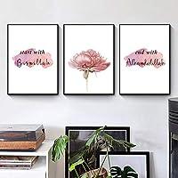 北欧のポスターと版画プリントピンクの花のキャンバス絵画ポスターリビングルームの家の装飾壁画のためのモダンな壁アート画像-40x60cm3pcsフレームなし