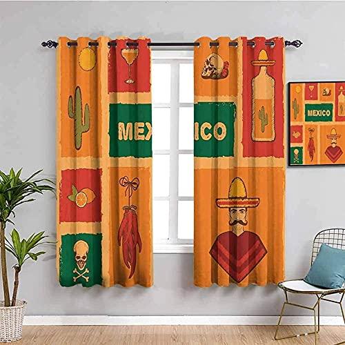 LucaSng Cortinas de Opacas - Amarillo Cactus Esqueleto Gente - 160x115 cm para Sala Cuarto Comedor Salon Cocina Habitación - 3D Impresión Digital con Ojales Aislamiento Térmico Cortinas