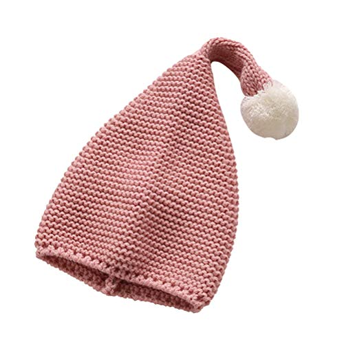 STOBOK Weihnachtself Mütze Nikolausmütze Strickmütze Baby Mütze mit Bommel Weihnachten Beanie Mütze für Kinder Baby (Rosa)