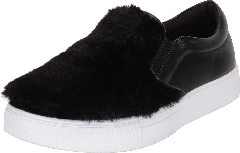 Cambridge Select Women's Faux Fur Slip-On Flatform Fashion Sneaker