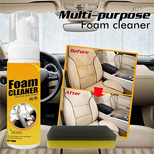 2021 New Upgrade Multi-Functional Powerful Cleaning Foam Spray, Powerful Stain Removal Kit Send Cotton Block, 100 Ml Foam Cleaner for Car and House Lemon Flavor, Multi Purpose Foam Cleaner