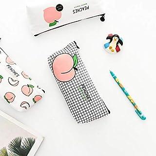 Estuches Lona linda Caja de Lápices de Melocotón Kawaii Chicas Bolsas de Lápiz Caja de Lápiz Durable Simple Papeler...
