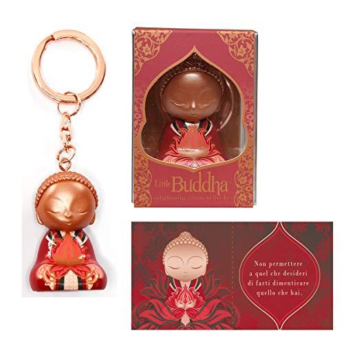 Little Buddha Schlüsselanhänger mit Zitat Einheitsgröße rot