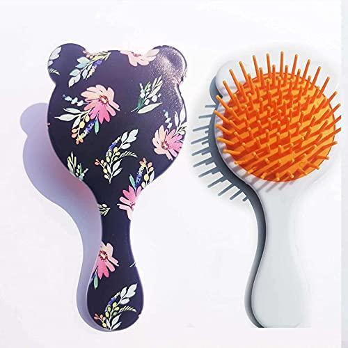 U-A Pegbas de airbag plástico de Dibujos Animados, peines de peluquería, fácil de Llevar a Cabo, Especialmente diseñados para niñas, Mujeres y niños Flor en Forma de corazón