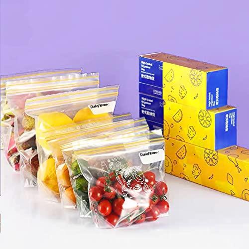 LBInerrant Bolsa Para Congelador Que Contiene 27x28cm 70 Bolsas de Plástico Reutilizables Para Alimentos Utilizadas Para Frutas Verduras Carne, Apertura y Cierre de Cremallera, Tres Tamaños
