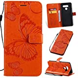 ARSUE for LG Stylo 6 Case,LG Stylo 6 Wallet Case,Folio Flip Case with Kickstand [Credit Card Slot Holder] Slim PU Leather Magnetic Clip Shell Stand Phone Cover for LG Stylo 6,Cute Butterfly Orange