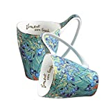 Ceramic Mug Funny Cup, Milk Cup Tea or coffee Cups ceramic 16 oz Mugs for Kitchen, Stylish Art van gogh cups porcelain(lrises Pattern)