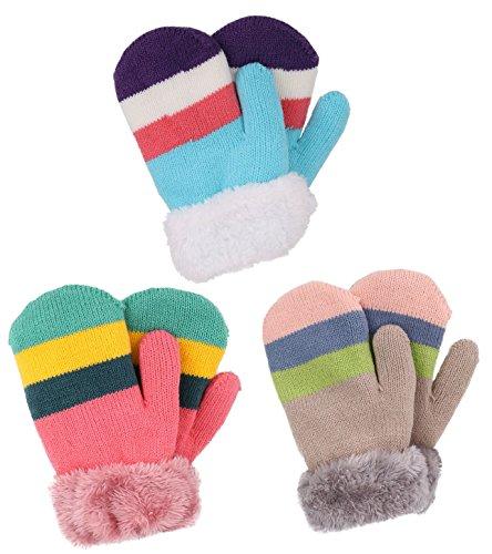 Set of 3 Kids' Sherpa Lined Knit Mittens, Blue Stripe+Khaki...