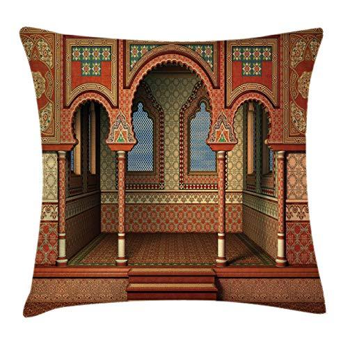 NA Arabesque Throw Pillow Cojín, Estilo Oriental del Medio Oriente Arquitectura del Palacio Interior Diseño de Arte Vintage, Funda de Almohada Decorativa con Acento Cuadrado, Rojo Dorado