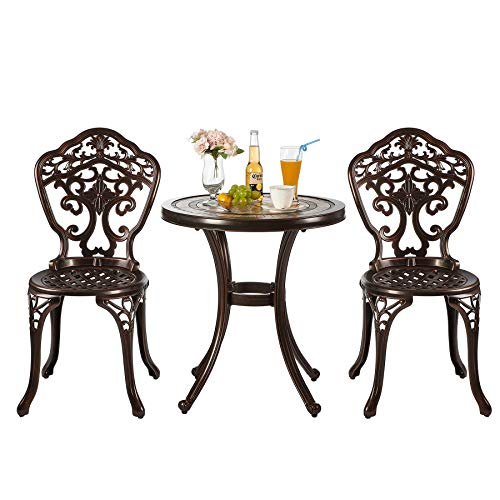 Nuzanto 3 Pieces Small Metal Outdoor Patio Bistro Set Bistro Table Set with Ceramics Top and Chairs Outdoor Patio Furniture Set 3 Piece Antique Bronze Durable Rust Weather Resistance (T460C22)