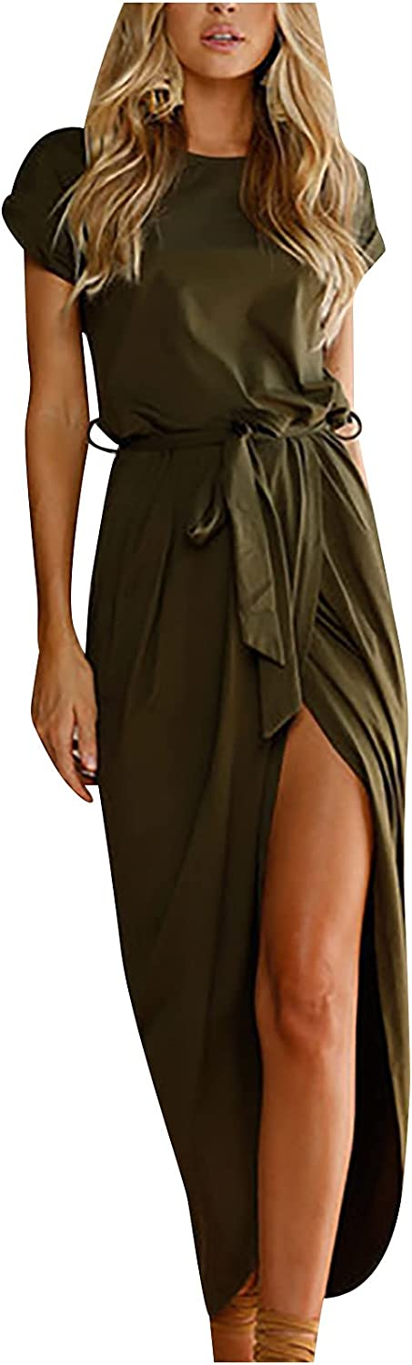 ESULOMP Women's Summer Short Sleeve T Shirt Dress Solid Color Casual Lace Up O-Neck Slit Beach Party Maxi Dresses