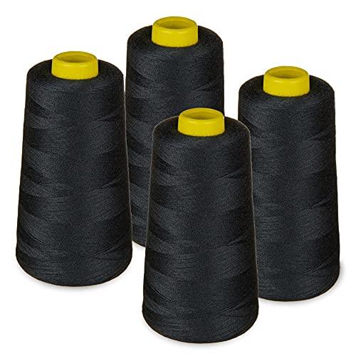 LIALINA - 4 Conos de Hilos Overlock 100% Poliéster (325 Negro) para Coser a Máquina y Remallar – 40S/2, 3000 Yardas – Hilo Para Remalladora Resistente, Duradero, Colores Brillantes de Máxima Calidad
