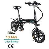 FIIDO D1 14 Pulgadas Bicicleta eléctrica Plegable, Bicicleta eléctrica de batería de Litio de 250W 7.8/10.4Ah con luz LED Frontal para Negro Adulto (Negro-10.4Ah)