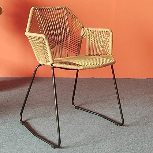 LZPQ Moderner Stuhl, PE - Rattan - geflochtene Rückenlehne, mit Armlehnen - Esszimmerstuhl, Innen - Außen, wasserdicht - Sonnenschutz